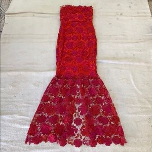 Lovers & Friends lace fishtail strapless dress